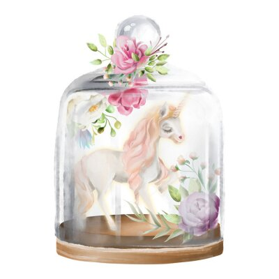 Obraz Krásný jednorožec, kouzelný kůň a květiny ve skleněné kazetě. Fantasy akvarel ilustrační izolovaných na bílém