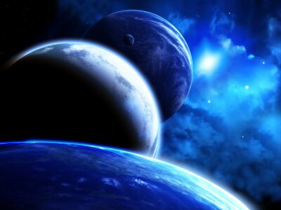 Obraz Krásný prostor scéna s průvod planet a mlhoviny