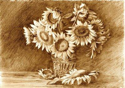Obraz Kresba tužkou kytici slunečnic ve váze detailní