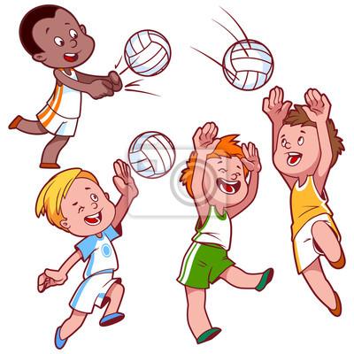 Kresleny Deti Hrat Volejbal Obrazy Na Stenu Obrazy Paragon