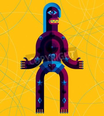 Obraz Kreslený vektorové ilustrace, antropomorfní charakter izolovaných na výtvarné pozadí, ozdobného moderní avatar dosažený v kubistickém stylu.