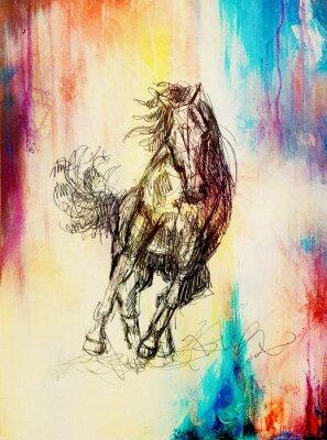 Obraz Kreslit tužkou kůň na starý papír, Vintage papír a staré struktury s barevnými skvrnami.