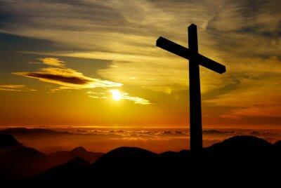 Obraz Křesťanský kříž na pozadí západu slunce