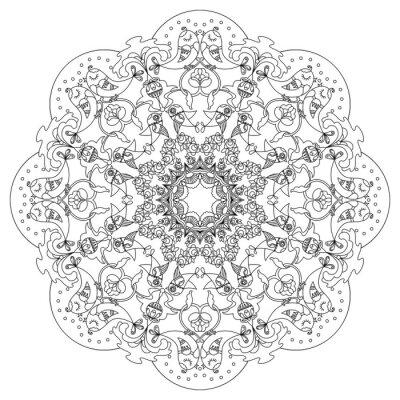 Obraz Kruhový vzor s ptáky a květiny v Doodle stylu