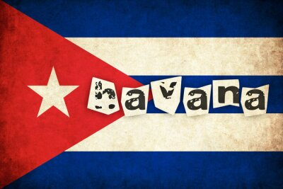 Obraz Kuba grunge vlajka ilustrace země s textem