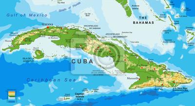 Kuba reliéfní mapa