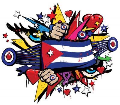 Obraz Kuba vlajka Havana graffiti poutač Graff znak street art streamer jack prapor barevný kubánské revoluce Graff vektor spray