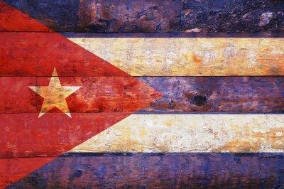 Obraz Kuba vlajka na staré dřevěné.
