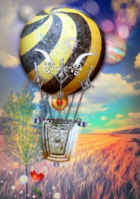 Obraz Kukuřičné neuvedené a strom s steampunk horkovzdušném balónu