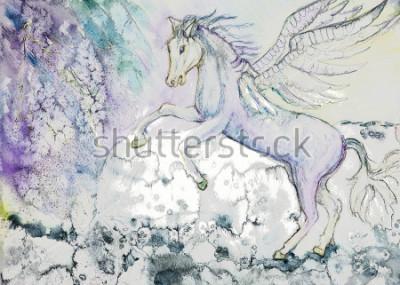 Obraz Kůň s křídly v bouřlivém počasí. Technika pokládání okrajů v blízkosti okrajů poskytuje měkký zaostřovací efekt pro změněné drsnosti povrchu papíru.