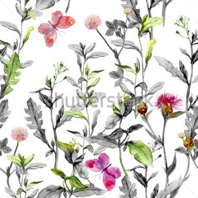 Obraz Květinové louky, tráva, byliny. Bezešvé bylinné pozadí v černé a bílé barvě pro módní návrh. vodové barvy