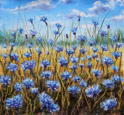 Obraz Květinové pole. Modré květy na louce. Modrá obloha. Olejomalba.