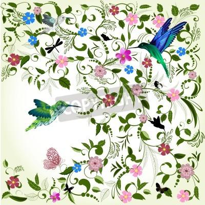 Obraz Květinové pozadí s ptákem