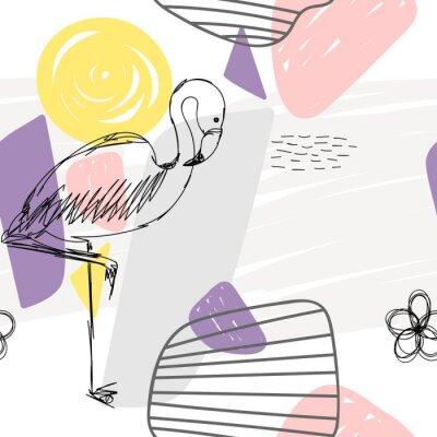 Obraz Květinový abstraktní geometrický bezešvé vzorek s plameňákem.