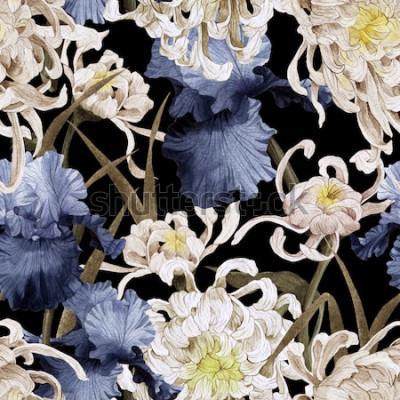 Obraz Květinový vzor bezešvé s chryzantéma a iris, akvarel