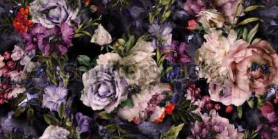 Obraz Květinový vzor bezešvé s květinami, akvarel