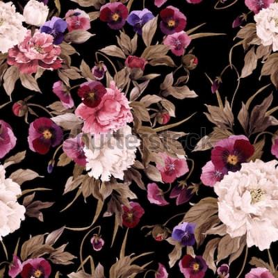 Obraz Květinový vzor bezešvé s pivoňky a macešky, akvarel