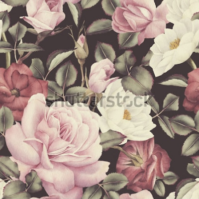 Obraz Květinový vzor bezešvé s růžemi, akvarel