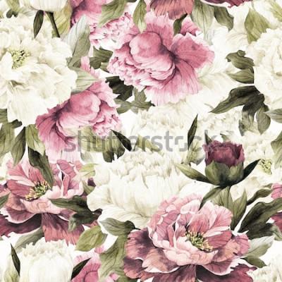 Obraz Květinový vzor bezešvé s růží na bílém pozadí, akvarel.