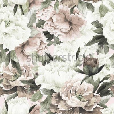 Obraz Květinový vzor bezešvé s růží na světlé pozadí, akvarel.