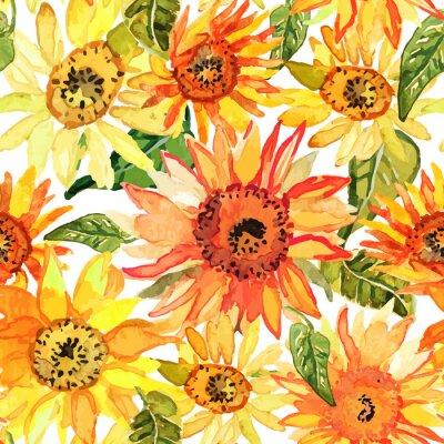 Obraz Květinový vzor bezešvé s slunečnic tažené akvarel.