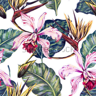 Obraz Květinový vzor bezešvé tropické, letní pozadí s exotickými květinami, palmové listy, džungle list, orchidej, květ rajče. Botanická tapeta, ilustrace v havajském stylu