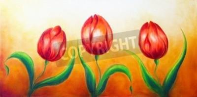 Obraz Květinovým motivem, tři tančící červené tulipánové květy, krásný jasný barevný obraz na pozadí okrová