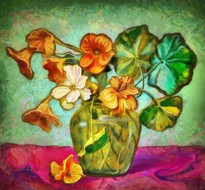 Obraz květiny skleněné vázy