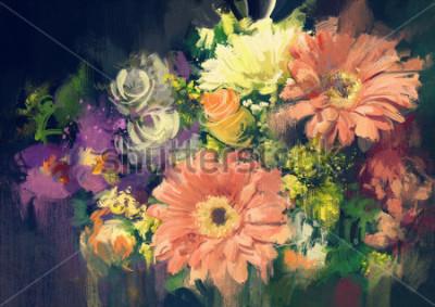 Obraz kytice květiny ve stylu olejomalba, ilustrace
