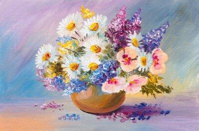 Obraz kytice letních květin, stále malba životnost oleje