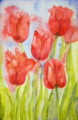 Obraz Kytice z tulipánů v poli. Poklepáváním technika je u okrajů dává změkčující účinek v důsledku drsnosti změněné povrchu papíru.