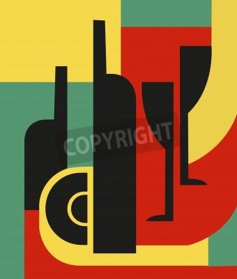 Obraz Láhev a sklo Abstraktní kompozice