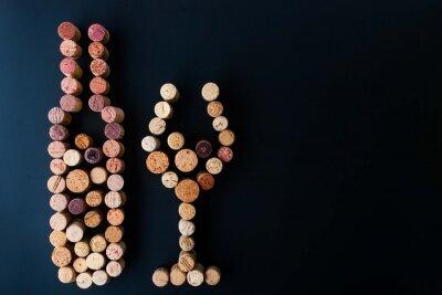 Obraz Láhev vína a skla ze strany korky horizontální