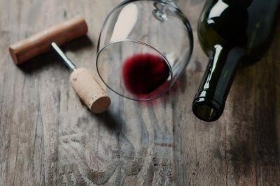 Obraz Láhev vína, korku a vývrtka