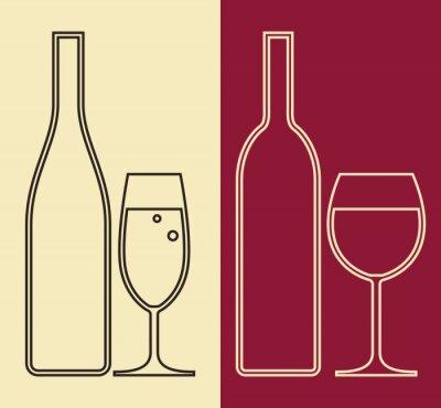 Obraz Láhve a sklenice vína a šampaňské
