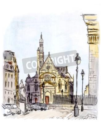 Obraz Lakování ulici evropské město, Paříž, akvarel