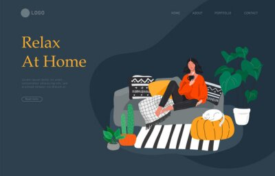 Obraz Landing page template with girl sitting and resting on the couch with a cat and coffee. Daily life and everyday routine scene by young woman in scandinavian style cozy. Cartoon vector