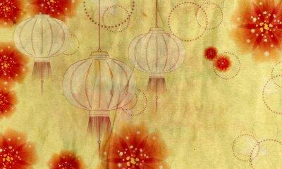 Obraz Lantern papír s květinami