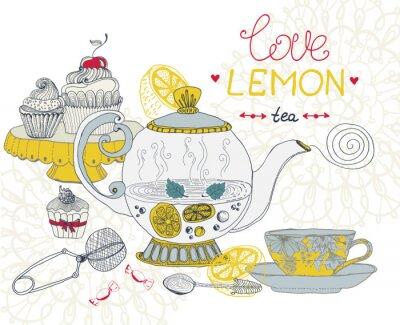 Obraz láska citron čaj karty