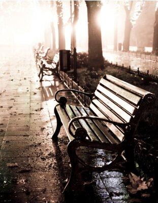Obraz Lavička v noci uličce se světly v Oděse,