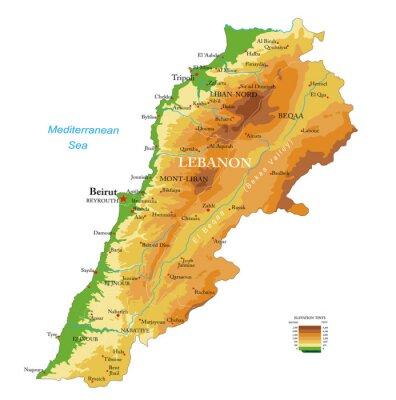 Lebanon physical map