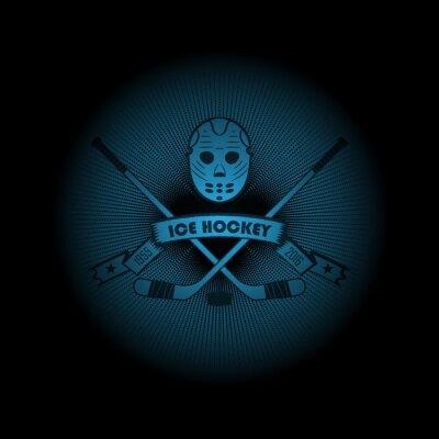 Obraz Lední hokej! Sportovní logo. emblém objevit z temnoty. Perfektní na černém tričku! vektor