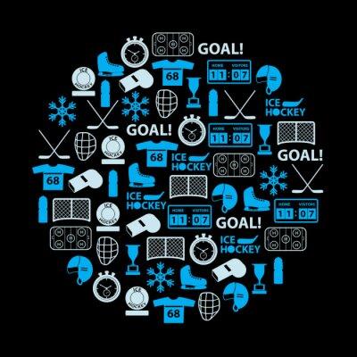 Obraz lední hokej sportovní modré ikony nastavit v kruhu eps10