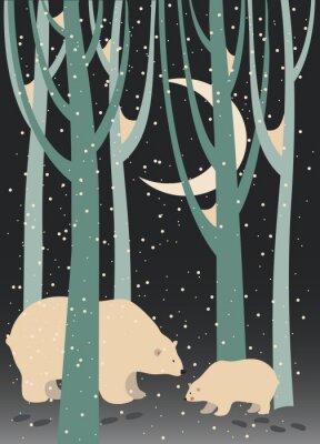 Obraz Lední medvěd a mládě v lese