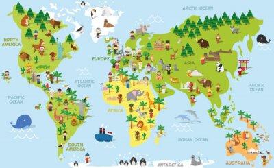 Obraz Legrační karikatury mapa světa s dětmi z různých zemí, zvířat a památek všemi kontinenty a oceány. Vektorové ilustrace pro předškolní vzdělávání a dětský design.