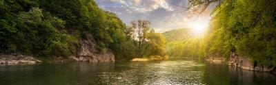 Obraz les řeka s kameny na pobřeží při západu slunce