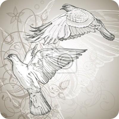 létající holubice na pozadí stylizovaného ornamentu