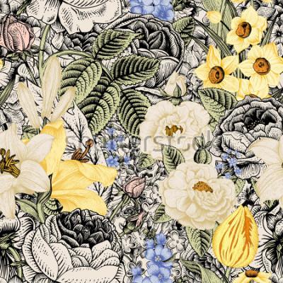 Obraz Letní bezešvé květinový vzor. Vintage květiny Art. Květiny růže, bílé a žluté lilie, narcisy, tulipány a modré delphinium a zapomenout na béžové a černé pozadí.
