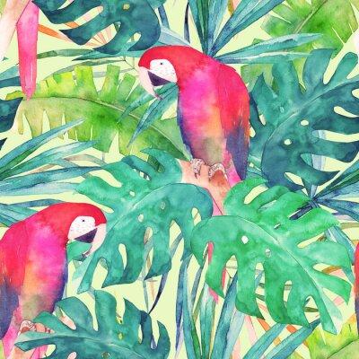 Obraz Letní bezešvé vzor s papouškem akvarelu, palmových listů. Barevné ilustrace