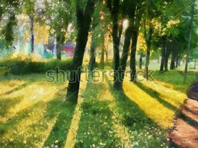 Obraz Letní krajina. Stromy v parku, stín na trávě. Vodové barvy. Pro potisk keramiky a tkaniny.